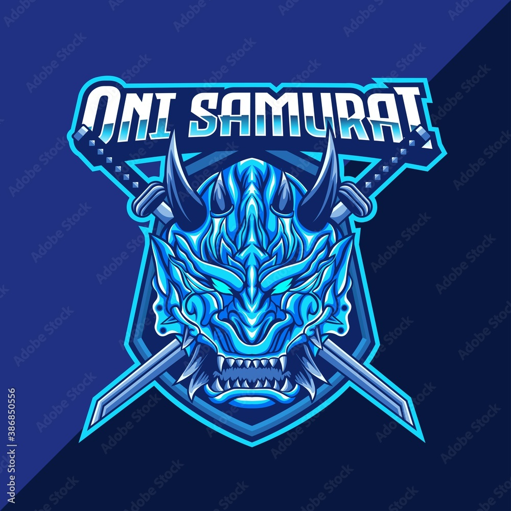 Fototapeta Oni mask samurai mascot logo template