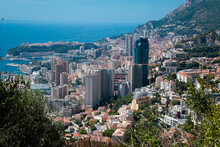Monaco-Montecarlo, Wonderful City Of The Cote-d'Azur With Its Marine And Architectures, Rooftop, In A Sunny Day With Blue Sky