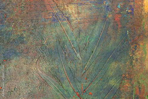 Fototapeta Odbity liść w farbie w namalowanym, wielokolorowym, abstrakcyjnym tle, faktura. obraz