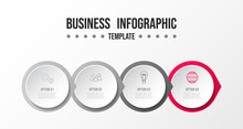 Business Infographic Template. Gray Milestone With Business Icons. Vector