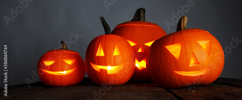 Obraz Halloween pumpkins and candles - fototapety do salonu