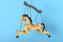 Horse Puppet Isolated In Blue ...
