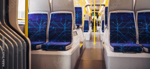 Fototapeta Empty seats on a bus due to Coronavirus pandemics.