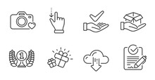 Hold Box, Touchscreen Gesture And Rfp Line Icons Set. Cloud Download, Photo Camera And Laureate Award Signs. Gift, Dermatologically Tested Symbols. Quality Line Icons. Hold Box Badge. Vector