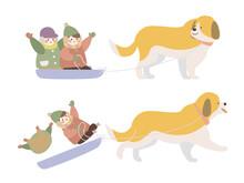 犬ぞりに乗る子供たち...