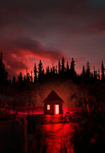 A Creepy Glowing Red Abandoned Cabin Isolated In The Middle Of A Mysterious And Spooky Forest. 3D Illustration