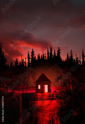 Leinwand Poster A creepy glowing red abandoned cabin isolated in the middle of a mysterious and spooky forest