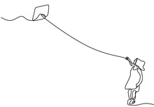 One Single Line Drawing Of Young Man Playing A Kite. Happy Young Energetic Male Playing To Fly Kite Up Into The Sky At Outdoor Field. Freedom And Passion Creative Theme. Minimalist Design