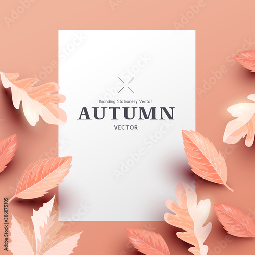 Autumn background layout template with paper leaves and room for text. Vector leaf fashion illustration.