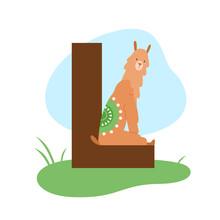 Children ABC English Animal Alphabet With L Letter And Cute Alpaca Lama.