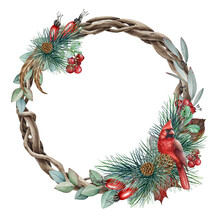 Floral Winter Wreath With Red ...