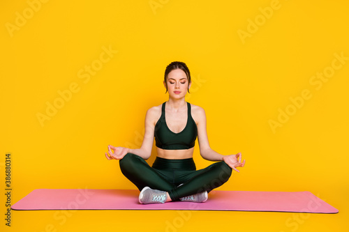 Portrait of attractive thin sportive calm tranquil girl doing yoga class meditation isolated on bright yellow color background