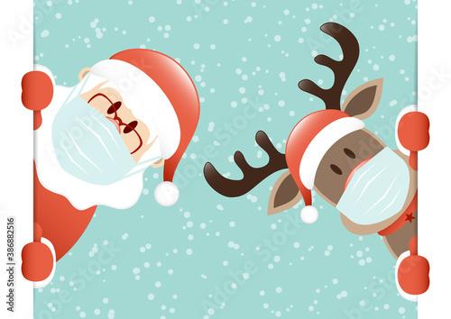 Weihnachtsmann Und Rentier Maske Banner Innen Schnee Türkis - 386882516