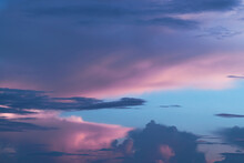 Pink And Blue Sky With Clouds Like Cotton Candy For Peaceful Background Or Wallpaper