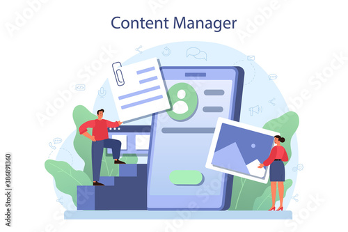 Obraz Content management concept. Idea of digital strategy and content - fototapety do salonu