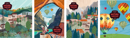 Nature landscape. Vector illustration of nature, mountains, villages, travel in a tent, architecture and balloons. Drawings for poster, postcard or background