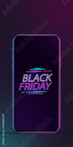 Device with neon lettering, black friday, sales, shopping concept. Flyer with copyspace. Cyber monday and online purchases, negative space for ad. Finance and money. Neon dark background.