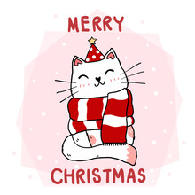 Cute Funny Cat Face With Red Christmas Scraf, Merry Catmas Word, Flat Vector Hand Drawn Doodle Outline, For Greeting Card, Shirt Print, Sublimation, Wall Art