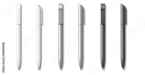 White grey and Black Realistic Set Pen Fototapete