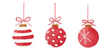 Three Christmas Hanging Baubles, Watercolor