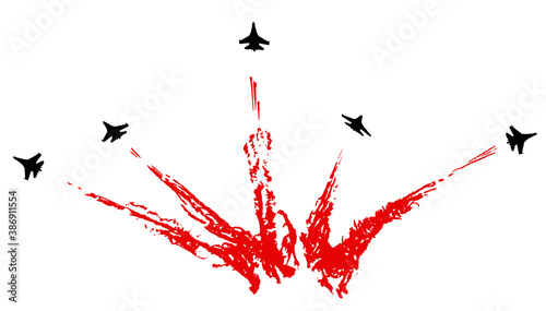 Fotografia, Obraz Aerobatic team with fighter aircrafts contrails