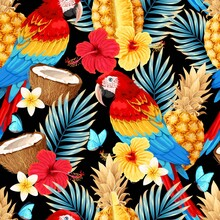 Vector Seamless Pattern With Macaw And Fruits
