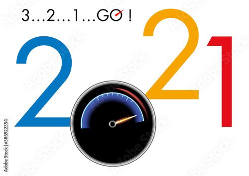 Fotografía Concept de carte de vœux 2021 montrant la puissance et la vitesse en prenant pour symbole un compte tour de voiture de course et un compte à rebours