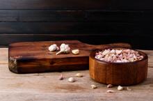 Garlic. Fresh Garlic In A Wood...