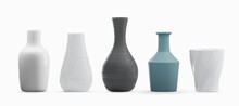 Various Type Vases Isolated On White Background