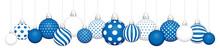 Banner Hängende Weihnachtskugeln Muster Blau Weiß Silber