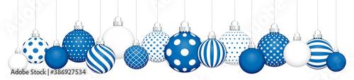 Fotografie, Tablou Banner Hängende Weihnachtskugeln Muster Blau Weiß Silber
