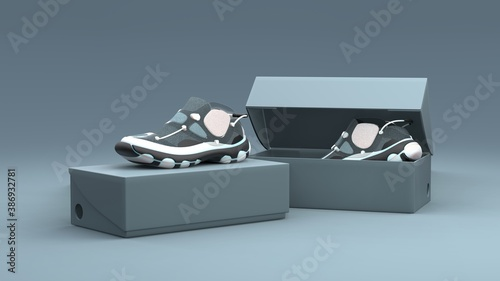 Footwear concept with box package on gray background. Package design. 3d illustration.