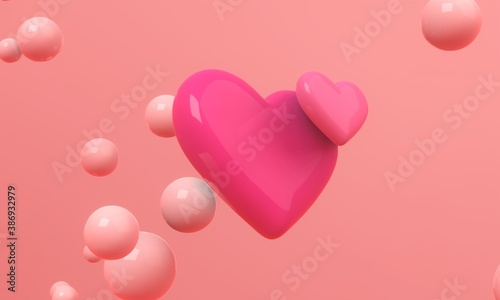 Two black hearts flying in the air on red background with floating spheres. Modern cover design. 3d illustration.