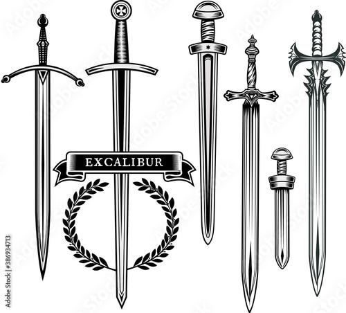 Obraz na płótnie Legendary sword. Excalibur the mythical sword of King