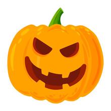 Colored Evil Jack-o-lantern. Isolated Vector Orange Jack-o-lantern.