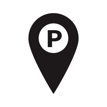 A Place To Park A Car. You Are Here Symbol. Gps Navigation. Vector Flat Design Map Marker Icon That Points Location. Web Element Design.