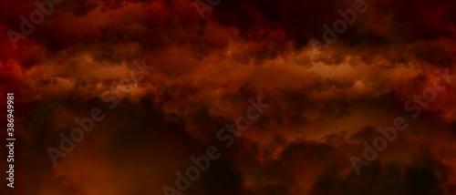 Obraz na plátně Red orange cloudiness ,fog or smoke on dark background