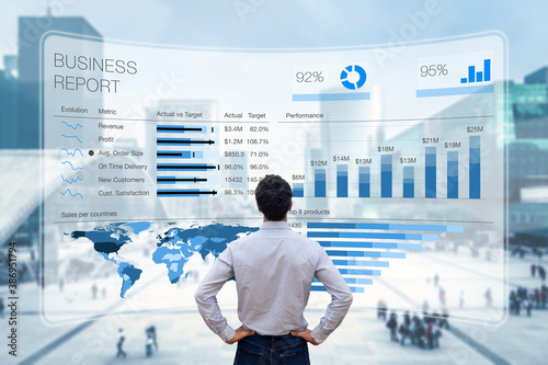Business report with metrics, performance indicators and charts summarizing sales and profit data compared to targets and market trends. Business executive analyzing business analytics dashboard - 386951794