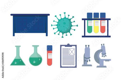 Obraz set of laboratory equipment vaccine research - fototapety do salonu