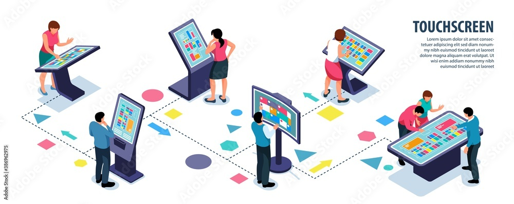 Fototapeta Interactive Touchscreen Users Infographics