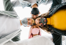 Multiracial Milenial Friends Taking Selfie With Closed Face Masks - New Normal Lifestyle Concept With Young People Having Fun Together
