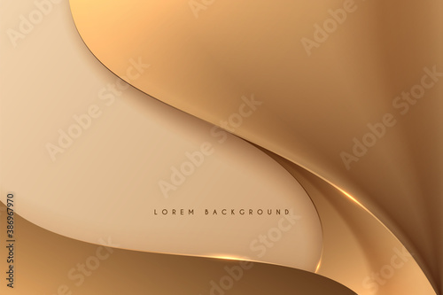 Abstract golden smooth wave background - 386967970