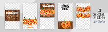 Halloween Social Media Banners. Insta Stories Set, Trick Or Treat Concept. 31 October Holiday Party Poster. Wooden Background With Pumpkin Faces. Realistic Vector Illustration.