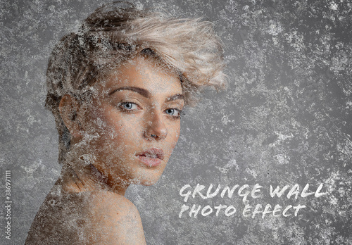 Old Grunge Wall Photo Effect Mockup
