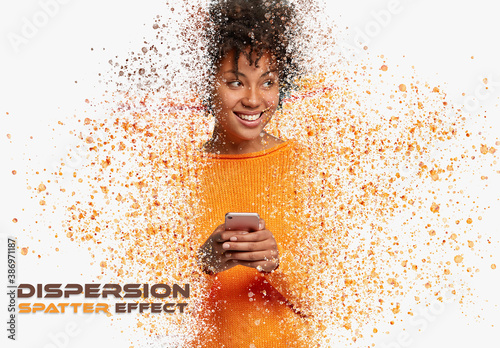 Obraz Dispersion Spatter Photo Effect with Particle Mockup - fototapety do salonu