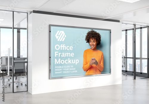 Obraz Billboard Hanging on Office Wall Mockup - fototapety do salonu