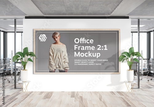 Obraz Panoramic Wooden Frame Hanging on Office Wall Mockup - fototapety do salonu