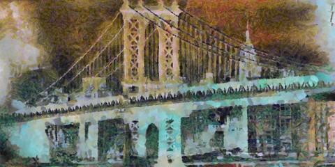 Manhattan bridge painting. 3D rendering