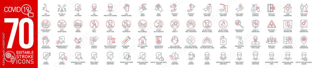 Fototapeta Prevention and symptoms Coronavirus Covid19 line icons set isolated on white. Perfect outline health medicine symbols pandemic banner. Vector design elements covid virus treatment with editable Stroke