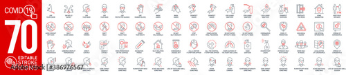 Obraz Prevention and symptoms Coronavirus Covid19 line icons set isolated on white. Perfect outline health medicine symbols pandemic banner. Vector design elements covid virus treatment with editable Stroke - fototapety do salonu